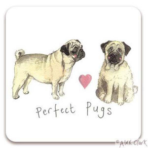 Pug Dogs Cork Backed Drink Coaster By Alex Clark
