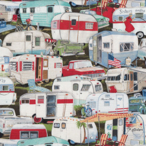 Retro Vintage Caravans Quilting Fabric