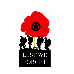 ANZAC Lest We Forget  Red Poppy 100% Cotton Kitchen Tea Towel