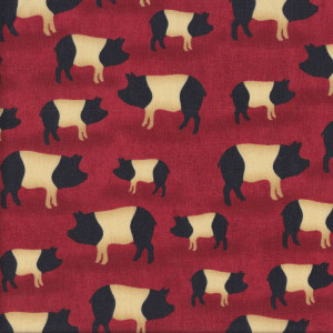 Saddleback Pigs on Burgundy Country Red Quilt Fabric
