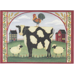 Saltbox Cow and Sheep Greeting Card by Deb Strain