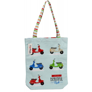 Colourful Scooters Beach Cotton Shopper Tote Carry Bag