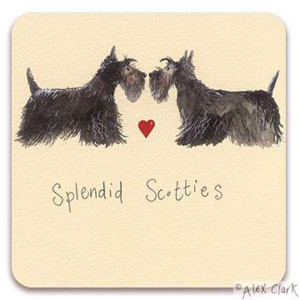 Scotties Cork Backed Drink Coaster By Alex Clark