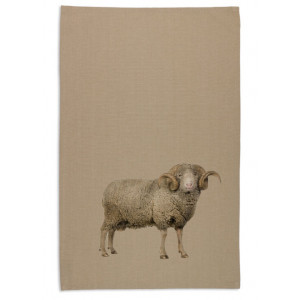 Ram Sheep Tea Towel Organic Cotton Beige