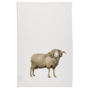 Ram Sheep Tea Towel Organic Cotton White