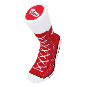 Unisex Red Sneaker Print Socks Adult Size 5-11