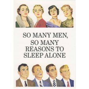 So Many Men So Many Reasons to Sleep Alone Retro Greeting Card