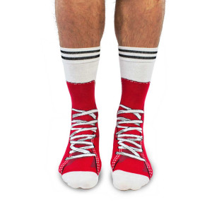 Mens Lace Up Sneakers Red Design Fun Novelty Socks