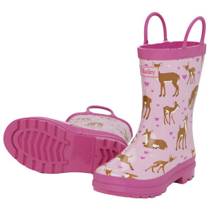 Soft Deers on Pink Design Pull On Kids Rainboots Gumboots By Hatley