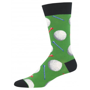 Mens Fun Novelty Socks Golf Balls Tee It Up Green