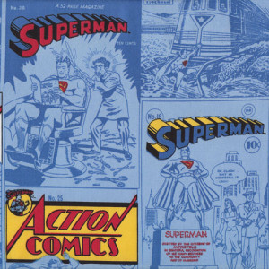 Superman Action Comics on Blue Licensed Quilt Fabric