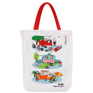 Retro Caravans Cotton Shopper Tote Carry Bag - Home is Where You Park It