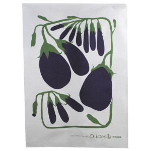 Linen Cotton Kitchen Tea Towel Eggplant Aubergine Vegetable Design