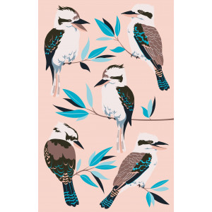 Australian Kookaburra and Gum Leaves on Pink 100% Cotton Kitchen Tea Towel