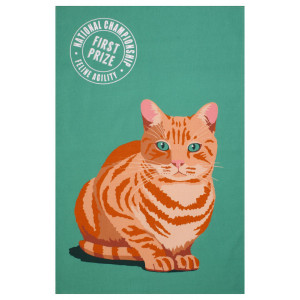 Marmalade Ginger Tabby Cat Design 100% Cotton Kitchen Tea Towel