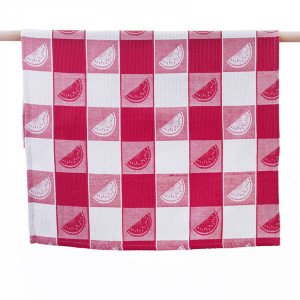 Watermelon Slices on Red and White Pattern 100% Waffle Cotton Tea Towel