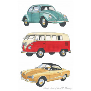 Classic VW Volkswagons of the 20th Century 100% Cotton Kitchen Tea Towel