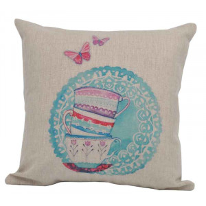 Tea Cups and Butterflies Design Square Cushion