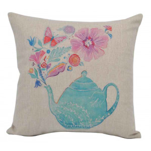 Teapot Flowers and Butterflies Design Square Cushion