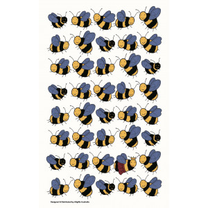 Bumble Bees in a Row 100% Cotton Kitchen Tea Towel