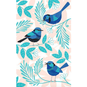 Blue Wrens Australian Birds 100% Cotton Kitchen Tea Towel