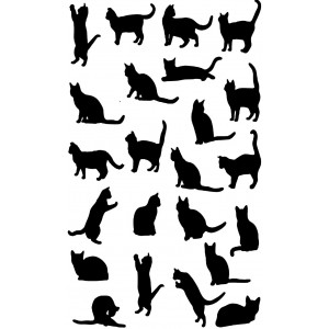 Cat Silhouettes 100% Cotton Kitchen Tea Towel
