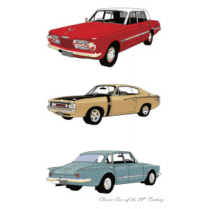 Classic Valiant Cars of the 20th Century 100% Cotton Kitchen Tea Towel