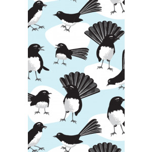 Australian Willy Wagtail Birds 100% Cotton Kitchen Tea Towel