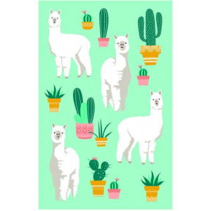 Alpaca and Cacti on Green 100% Cotton Kitchen Tea Towel