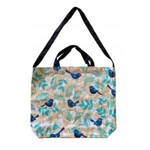 Cotton Drill Shopper Tote Carry Bag Blue Wren