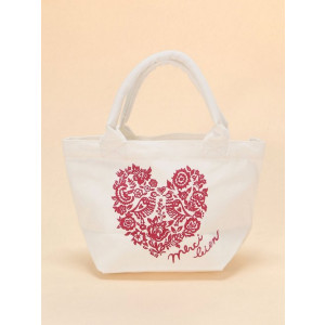Mini Canvas Merci Gift Tote Shopping Lunch Bag Love Heart