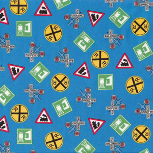 Choo Choo You Train Rail Road Signs on Blue Quilting Fabric