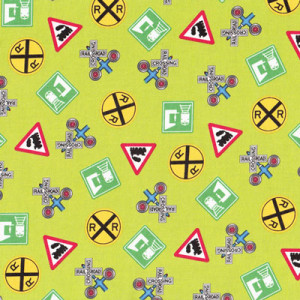 Choo Choo You Train Rail Road Signs on Green Quilting Fabric