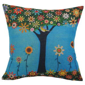Tree With Colourful Flowers and Bird Design Square Cushion