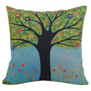 Tree With Colourful Flowers Design Square Cushion
