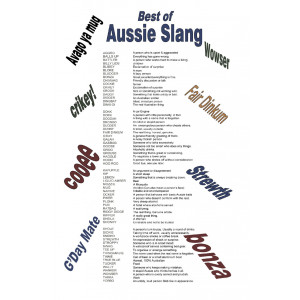 Best of Australian Aussie Slang Words 100% Cotton Kitchen Tea Towel