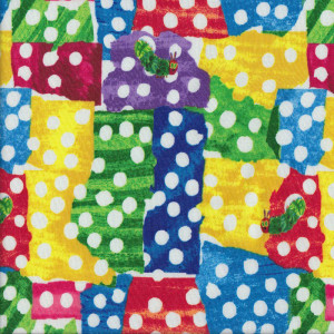 Very Hungry Caterpillar Spots Colourful Patches Quilt Fabric