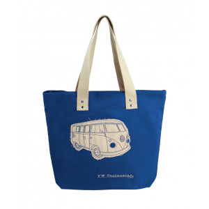 VW Kombi Canvas Shopper Carry Bag Dark Blue