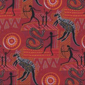 Wilgarup on Red Kangaroo Australian Aboriginal Indigenous Quilting Fabric