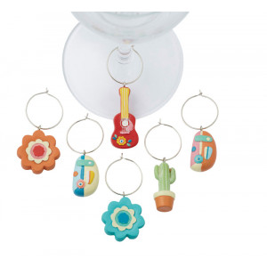 Caravanna Design Caravan Flowers Cactus Guitar Set of 6 Wine Charms