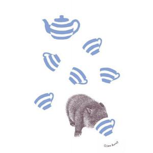 Curious Australian Wombat 100% Cotton Kitchen Tea Towel