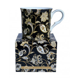 Black Jacobean Fine Bone China Palace Tea Coffee Cup Mug