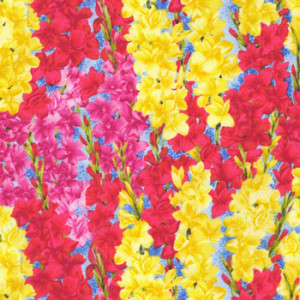 Gladiolus Gladioli Flowers Yellow Red Pink Quilt Fabric