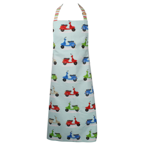 Colourful Vespa Scooters Cotton Kitchen Apron