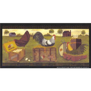 Country Chickens Roosters 3.5 x 7 Print