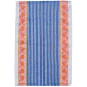 Chickens and Blue Stripes Jacquard Tea Towel