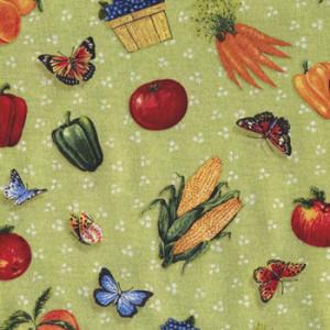 Fruit Vegetables Butterflies on Green Quilt Fabric