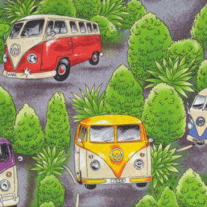 Kombi VW Vans On Tour Cars Trees Quilt Fabric