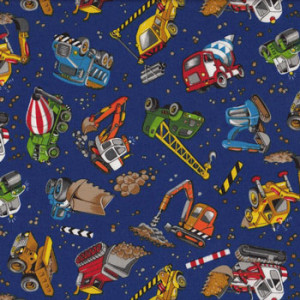 Construction Cranes Cement Trucks Bulldozers Quilting Fabric