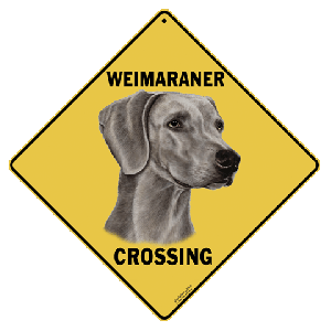 Weimaraner Dog Crossing Road Sign